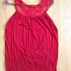 Tops - Red crochet tank